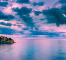 Dawn cloud breaks at Cala d'Enmig Sticker