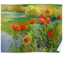Poppies by the pond Poster