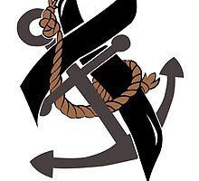 Nautical Themed Melanoma Ribbon by holyboots