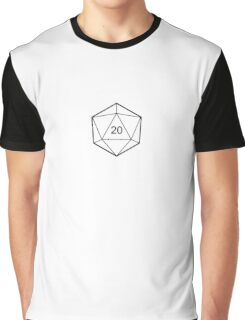 d20 Dice (Black) Graphic T-Shirt