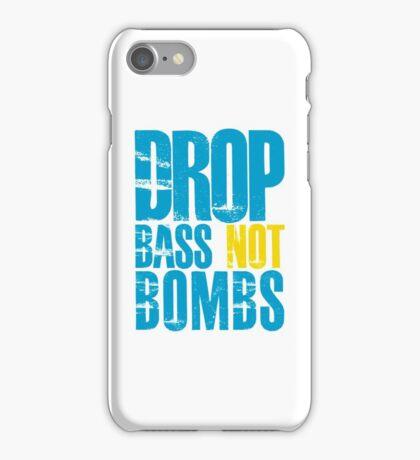 Drop Bass Not Bombs (blue/yellow)  iPhone Case/Skin