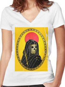 POUYA Women's Fitted V-Neck T-Shirt