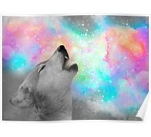 Breathing Dreams Like Air (Wolf Howl Abstract II: Gray) Poster