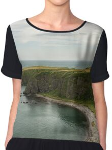 North Sea Greens - Emerald Water and Verdant Cliffs in Scotland UK Chiffon Top