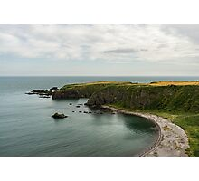 North Sea Greens - Emerald Water and Verdant Cliffs in Scotland UK Photographic Print