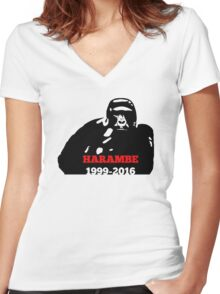 Harambe 1999 - 2016 Women's Fitted V-Neck T-Shirt