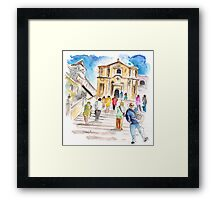 Tourists In Noto Framed Print