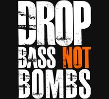 Drop Bass Not Bombs (white/orange)  Mens V-Neck T-Shirt