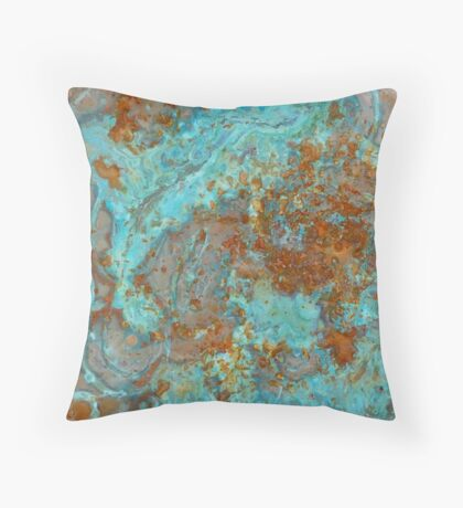 Copper Blue Teal Throw Pillow