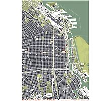 Buenos Aires city map engraving Photographic Print