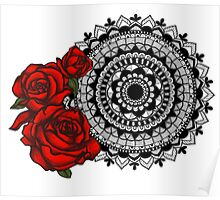 Red rose mandala Poster