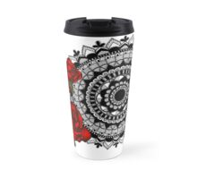 Red rose mandala Travel Mug