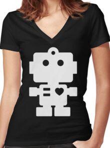 Robot - black & white Women's Fitted V-Neck T-Shirt