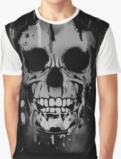 Cool Skull with Paint Drips - Black and White Graphic T-Shirt