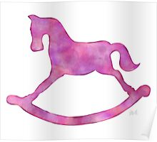Adorable Pink & Purple Rocking Horse Watercolor Silhouette for Nursery Poster