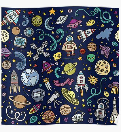 Cartoon Space Explorer Birthday Kids Theme Poster