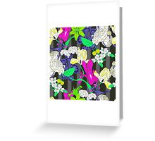 Botanical floral on stripe col2 Greeting Card