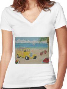 Beach Bash Women's Fitted V-Neck T-Shirt
