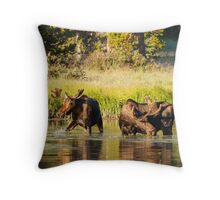 Two Moose Throw Pillow