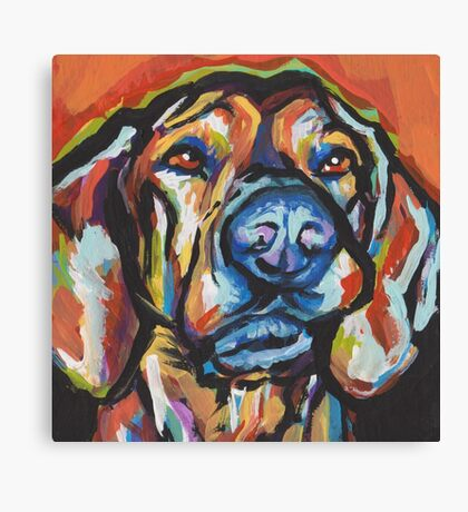 Fun Plott Hound Dog bright colorful Pop Art Canvas Print