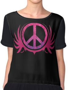 Peace Sign with Grunge Texture and Wings Chiffon Top