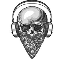 Skull In Headphones Engraving Photographic Print