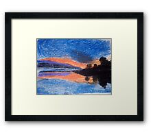 Oil Pastel Drawing of a Sunset Framed Print