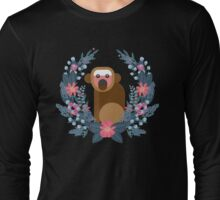 This Japanese Monkey Can NOT Believe It! (Black) #trending // Cute funny monkey + flowers illustration Long Sleeve T-Shirt