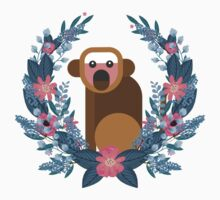 This Cute Japanese Monkey Can NOT Believe It! (White) #trending // Cute funny monkey + flowers illustration Kids Tee