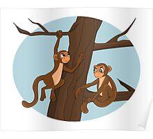 Monkeys climbing the tree cartoon Poster