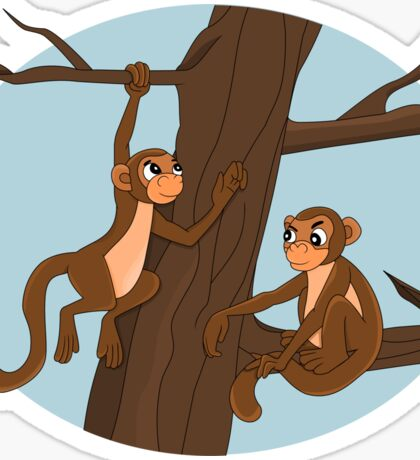 Monkeys climbing the tree cartoon Sticker