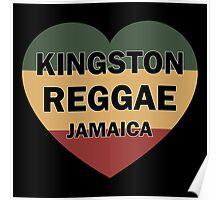 Kingston reggae jamaica heart Poster