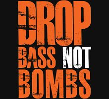 Drop Bass Not Bombs (orange/white)  Mens V-Neck T-Shirt