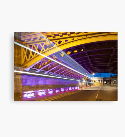 Light Trails, High Level Bridge, Newcastle, Tyne and Wear, UK Canvas Print