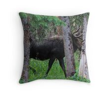 Moose in the Woods Throw Pillow