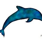 Watercolor Dolphin Silhouette in Shades of Ocean Blue by Laura Bell