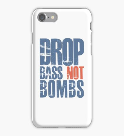 Drop Bass Not Bombs (blue/orange)  iPhone Case/Skin