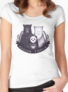 Modern Bear Family - Yellow Women's Fitted Scoop T-Shirt