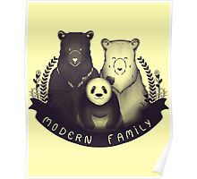 Modern Bear Family - Yellow Poster