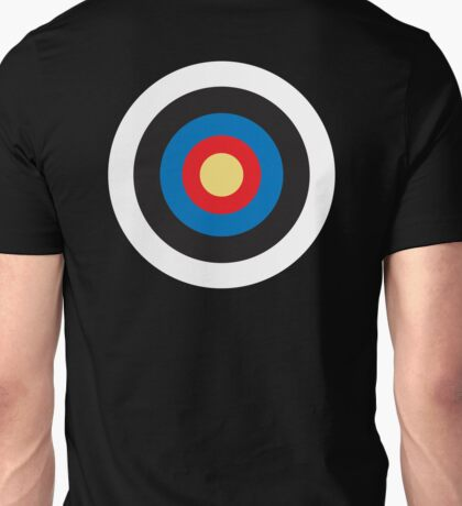 Bulls Eye, Target, Right on Target, Roundel, Archery, on BLACK Unisex T-Shirt