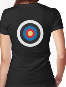 Bulls Eye, Target, Right on Target, Roundel, Archery, on BLACK Womens Fitted T-Shirt