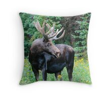 Moose in Wildflowers Throw Pillow