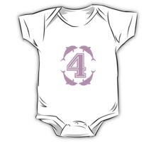 Baby learns to count with pink dolphin 4 One Piece - Short Sleeve