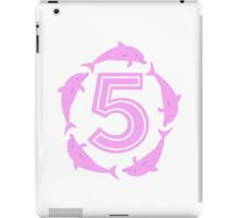 Baby learns to count with pink dolphin 5 iPad Case/Skin