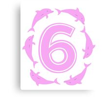 Baby learns to count with pink dolphin 6 Canvas Print