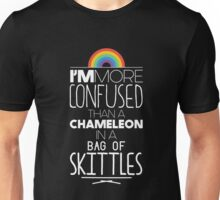 I'm More Confused Than A Chameleon In A Bag Of Skittles - Funny Chameleon Text Pun Design Unisex T-Shirt