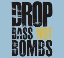 Drop Bass Not Bombs (black/yellow)  One Piece - Short Sleeve