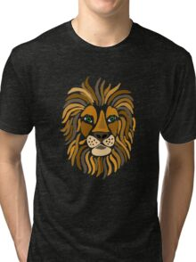 Cool Funky Artistic Lion Abstract Art Tri-blend T-Shirt