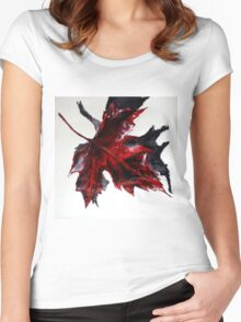 Canada Maple Leaf Red Acrylic On Paper Contemporary Painting  Women's Fitted Scoop T-Shirt