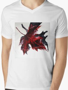 Canada Maple Leaf Red Acrylic On Paper Contemporary Painting  Mens V-Neck T-Shirt